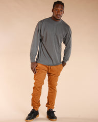 Solid Twill Jogger - Brown