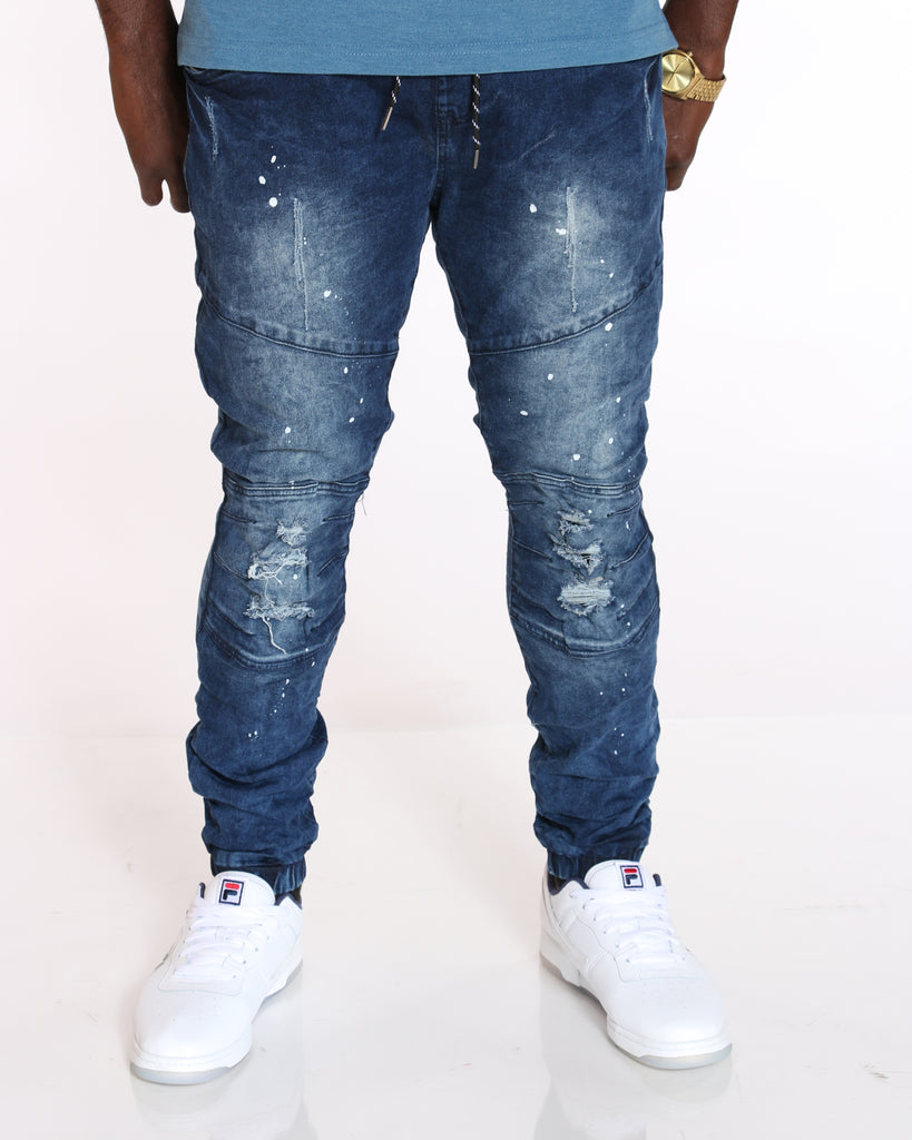 VIM Denim Ripped & Paint Splatter Jogger - Medium Blue - Vim.com