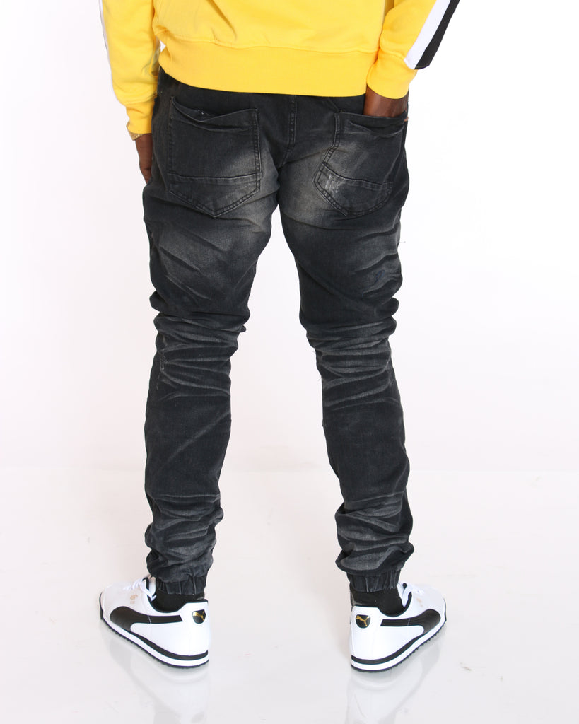 VIM Denim Ripped & Paint Splatter Jogger - Black - Vim.com