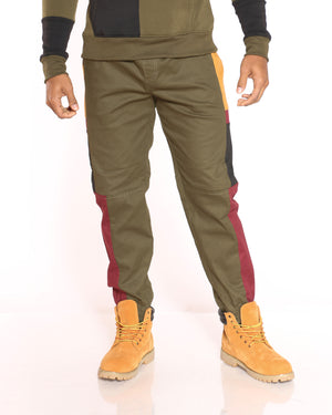Men's Tyson Color Block Side Twill Jogger - Olive