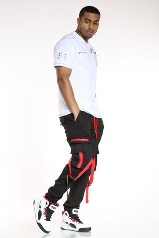 Men's Cargo Pocket Twill Jogger - Black Red-VIM.COM