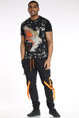 Men's Cargo Pocket Twill Jogger - Black Orange-VIM.COM
