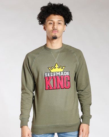Green Chenille Patch Selfmade King Long Sleeve Tee