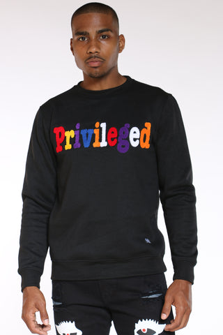 Men's Privileged Chenille Crew Sweater - Black-VIM.COM