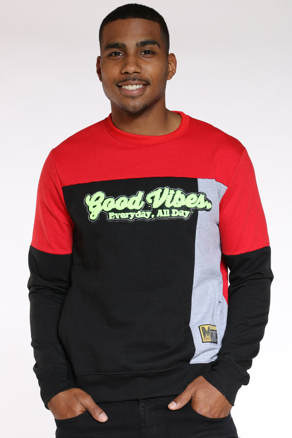 Men's Good Vibes Color Block Sweater - Black-VIM.COM