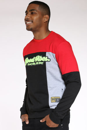 Men's Good Vibes Color Block Sweater - Black
