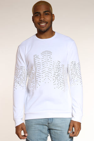 Men's Metal Studded Sweatshirt - White-VIM.COM