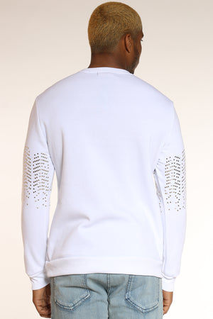 Men's Metal Studded Sweatshirt - White