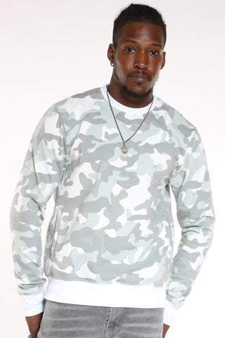 Men's Camo Fleece Crew Sweater - Grey-VIM.COM