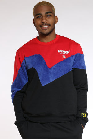 Men's Color Block Polar Crew Sweater - Black-VIM.COM