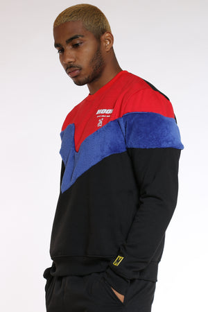 Men's Color Block Polar Crew Sweater - Black