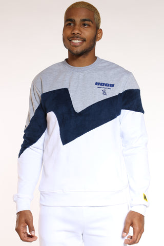 Men's Color Block Polar Crew Sweater - Heather Grey-VIM.COM