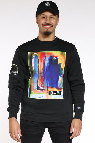 Men's Art Painting Fleece Crew Sweater - Black-VIM.COM