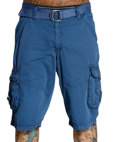 Men'S Belted Cargo Shorts - Navy