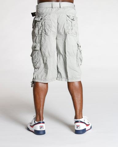 Men'S Twill Belted Cargo Shorts - Grey