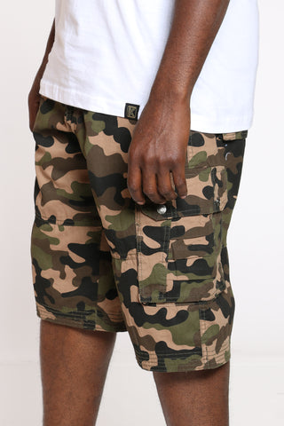 Men's Belted Twill Cargo Short - Woodland Camo