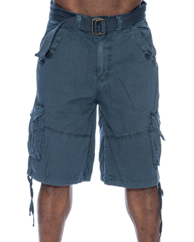 Men'S Belted Snap Button Cargo Shorts
