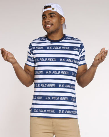 Men's Striped Crew Neck Tee - Navy