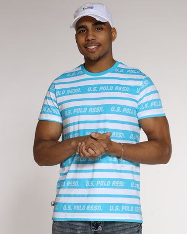 Men's Striped Crew Neck Tee - Aqua