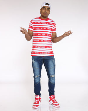 Men's Striped Crew Neck Tee - Red