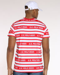 Striped Crew Neck Tee - Red