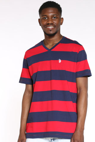 U.S. POLO ASSN.-Men's Striped Vneck Tee - Red-VIM.COM