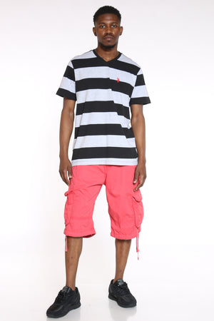 Men's Striped Vneck Tee - Black