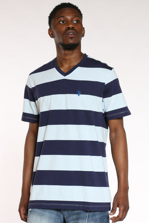 U.S. POLO ASSN.-Men's Striped Vneck Tee - Blue Navy-VIM.COM