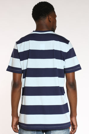Men's Striped Vneck Tee - Blue Navy