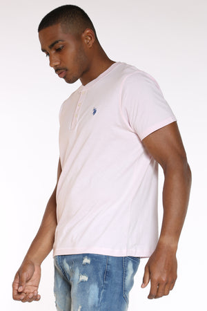 Men's Solid Henley Tee - Pink