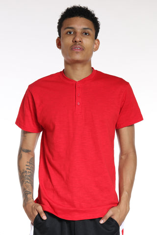 Men's Marled 3 Button Henley Tee - Red-VIM.COM