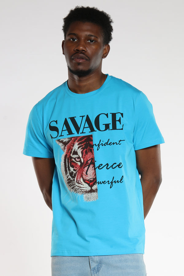 Men's Savage Stone Tiger Tee - Turquoise-VIM.COM
