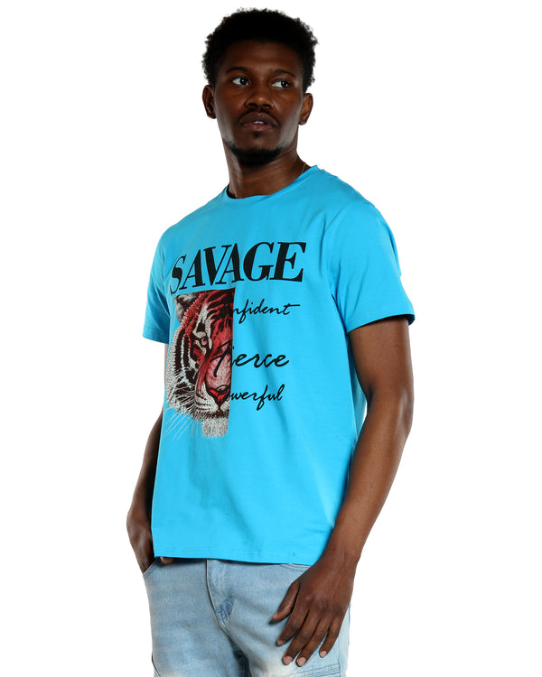 Men's Savage Rhinestone Tiger Tee - Turquoise