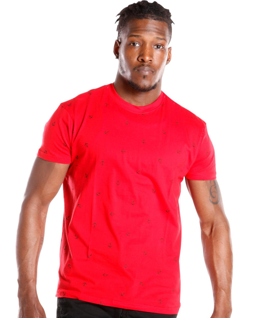 Men's ANCHOR TEE - RED BLACK