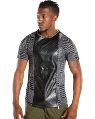 Men's Leather Trim Tee (Available in 3 colors)