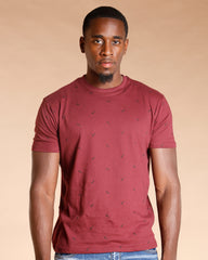 Black All Over Print Tee - Burgundy