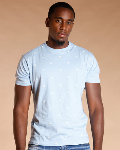 White All Over Cream Cup Tee - Light Blue