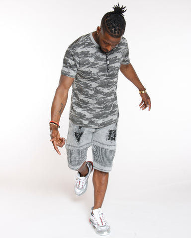Grey Camo Digital Print Henley Tee