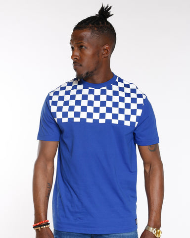 Royal Checkered Color Block Tee
