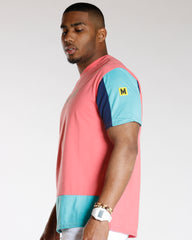 VIM Color Block Hood Teddy Bear Tee - Coral - Vim.com