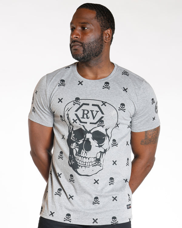 VIM Skull All Over Rhinestone Tee - Grey - Vim.com