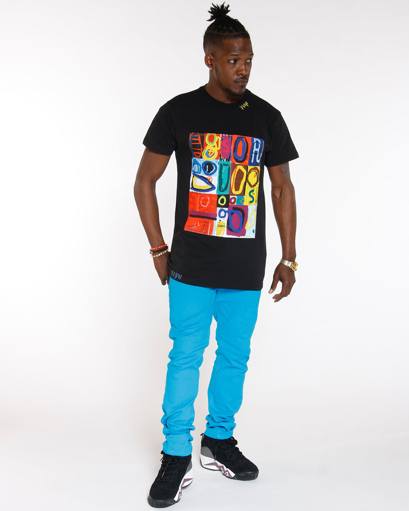 Black Abstract Art Stretch Tee