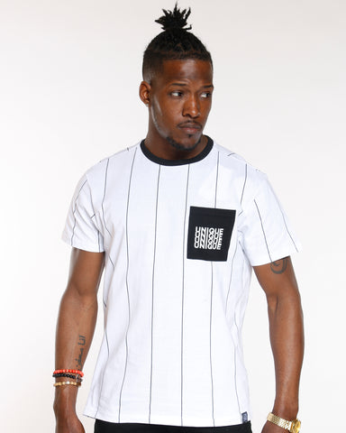 White Pin Vertical Stripe Unique Pocket Tee