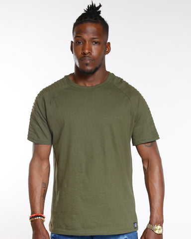 Olive Moto Shoulder Pintuck Tee