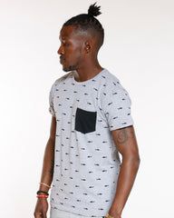 Grey All Over Sharks Front Pocket Tee