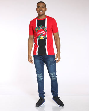 Men's Splinter Turtles Always Lit Embroidered Tee - Red