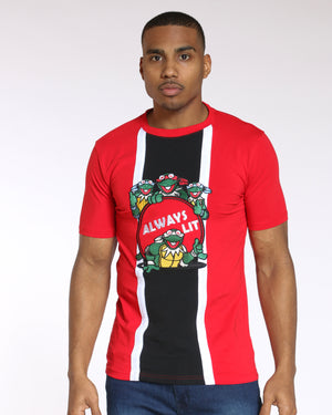 Men's Splinter Turtles Always Lit Embroidered Tee - Red-VIM.COM