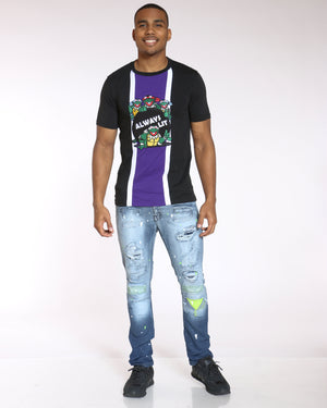 Men's Splinter Turtles Always Lit Embroidered Tee - Black Purple