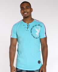 VIM Lace Up Eagle Shoulder Trim Tee - Aqua - Vim.com