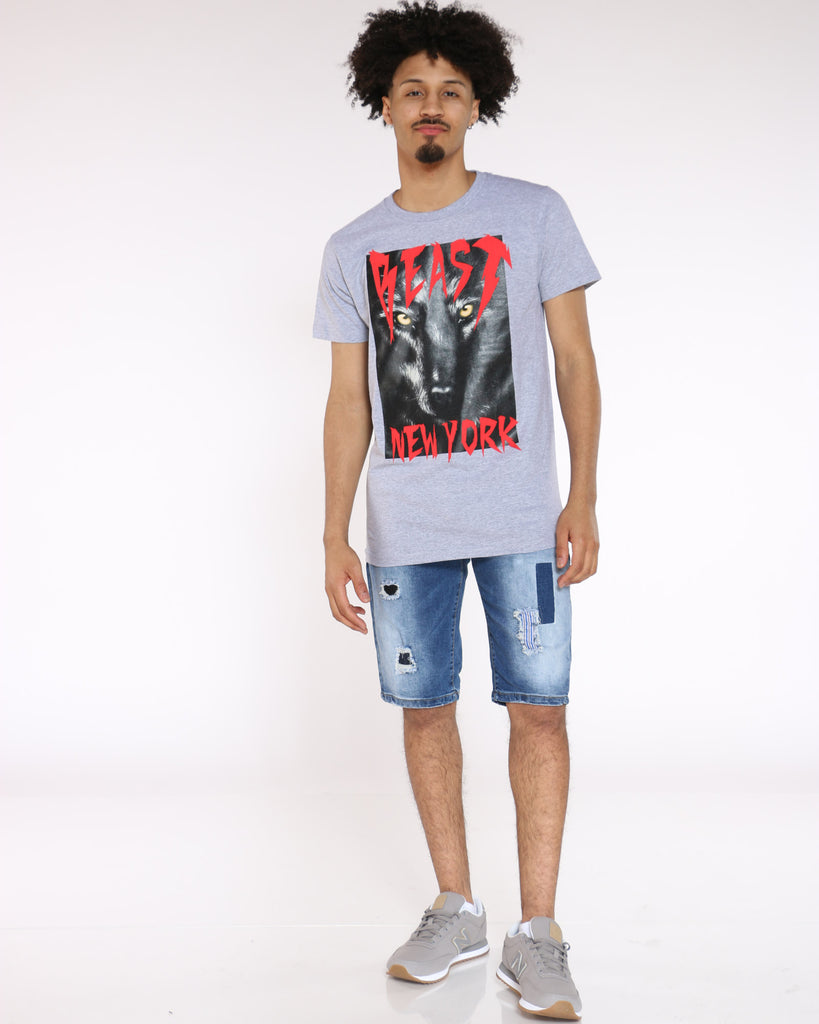 Beast New York Panther Tee - Grey Red